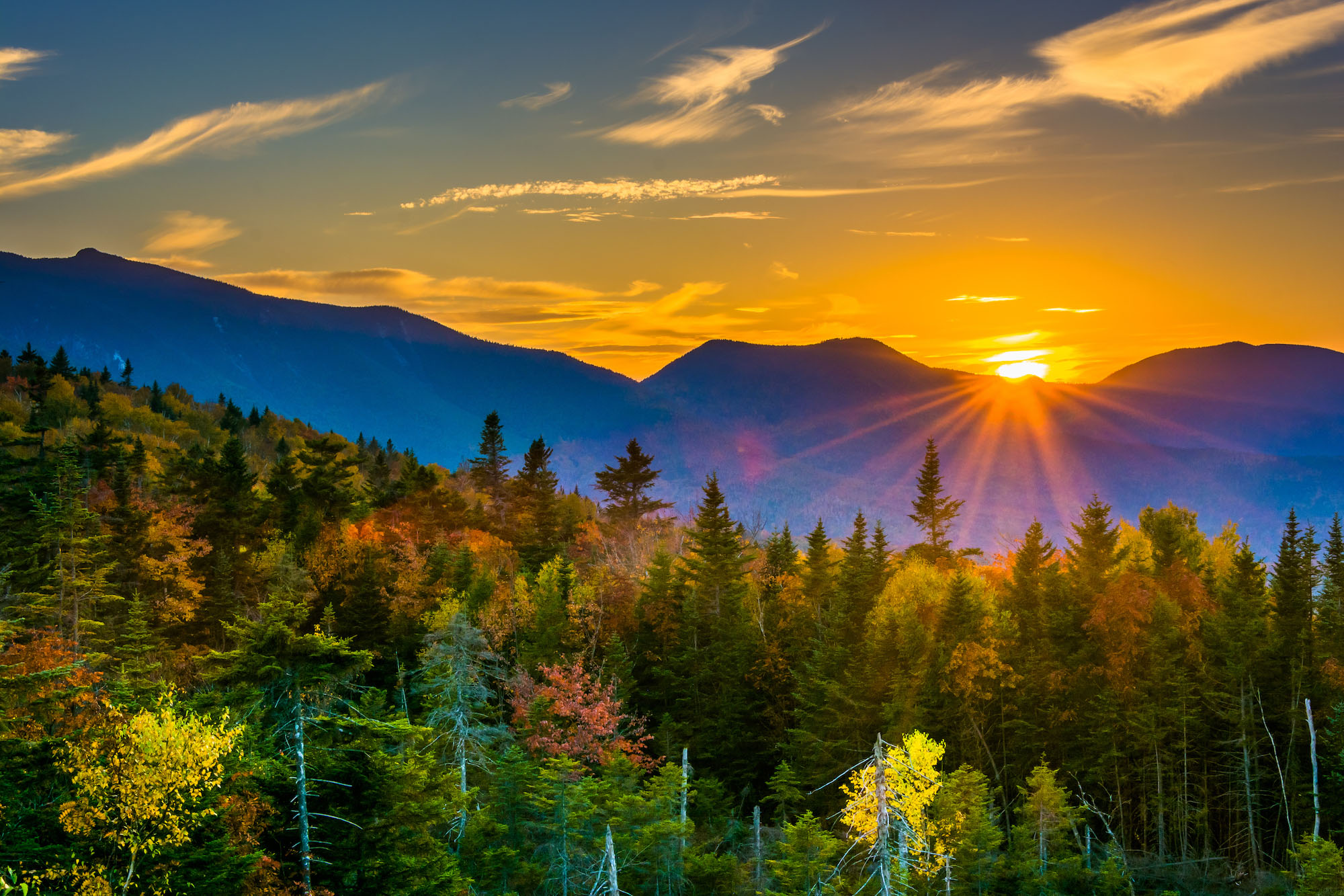 New Hampshire mountains at sunset